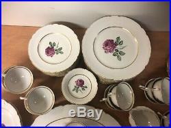 Vintage Embassy Vitrified China Set Pink Rose Pattern Gold Trim 96 Pcs USA