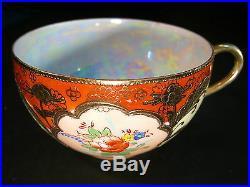 Vintage Hand Painted Lusterware Porcelain China Gold Trim Tea Set Japan Japanese