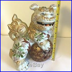 Vintage Kutani Foo Dog Statue Gilt Moriage Porcelain Japanese Shishi Guardian Li