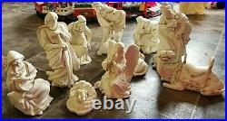 Vintage Large O'well Nativity Set Vintage Porcelain Xmas Table White Gold 11 Pc