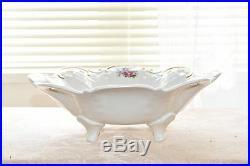 Vintage REICHENBACH Germany GDR Porcelain Fine China Footed Bowl Floral Gold Rim