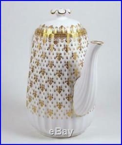 Vintage Spode Bone China Teapot Coffee Pot Gold Fleur de Lis 40 oz ca 1960-1970