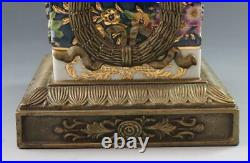 Vintage Wong Lee 1895 Pr Porcelain & Bronze Urns with Seashells Heavy Gold 19 3/4