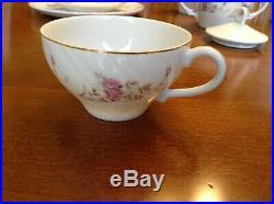 Yamaka 5 Fine China Occupied Japan, SAUCERS, Tea SET PINK FLOWERS GOLD TRIM